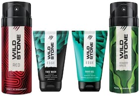 Wild Stone Edge Facewash;Edge Hairgel;Red and Forest Spice Deodorant (Pack of 4)
