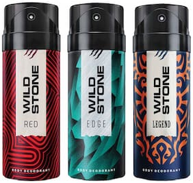 Wild Stone Edge Legend And Red Deodorant For Men 150 ml (Pack Of 3)