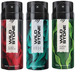 Wild Stone Edge Forest Spice And Ultra Sensual Deodorant For Men 150 ml (Pack Of 3)