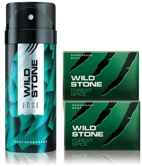 Wild Stone Edge Deodorant(150ml each) and 2 Forest Spice Soap(75gms each) Pack of 3