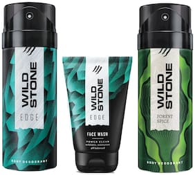 Wild Stone Edge Facewash;Edge and Forest Spice Deodorant (Pack of 3)