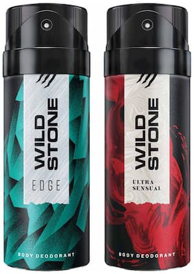 Wild Stone Edge And Ultra Sensual Deodorant For Men 150 Ml (Pack Of 2)