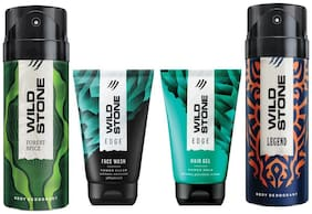 Wild Stone Edge Facewash;Edge Hairgel;Forest Spice and Legend Deodorant (Pack of 4)