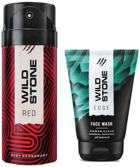 Wild Stone Edge Facewash and Red Deodorant (Pack of 2)