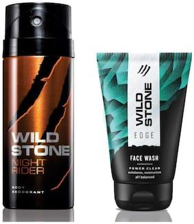 Wild Stone Edge Facewash and Night Rider Deodorant (Pack of 2)