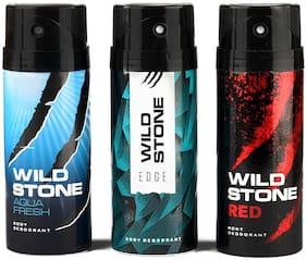 Wild Stone Edge Aquafresh And Red Deodorant For Men 150 ml (Pack Of 3)