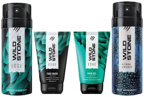 Wild Stone Edge Facewash;Edge Hairgel;Edge and Hydra Energy Deodorant (Pack of 4)