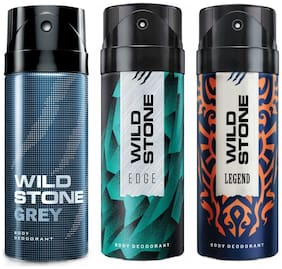 Wild Stone Edge Grey And Legend Deodorant For Men 150 Ml (Pack Of 3)