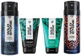 Wild Stone Edge Facewash;Edge Hairgel;Hydra Energy and Legend Deodorant (Pack of 4)
