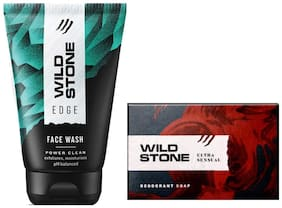 Wild Stone Edge Facewash(100 ml) and Ultra Sensual Soap (125 g) For Men - Pack of 2