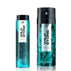 Wild Stone Edge Deodorant (150 ml) and Hydra Energy Talc (50 g) For Men Pack of 2