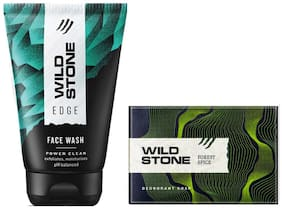 Wild Stone Edge Face Wash (100 ml) and Forest Spice Soap (125 g ) For Men;Pack of 2