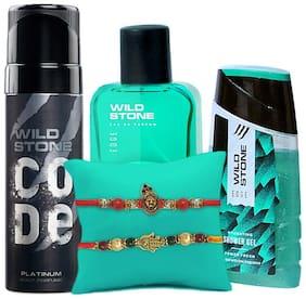Wild Stone Edge Perfume 30ml, Code Platinum Body Perfume 120ml & Edge Shower Gel 100 ml Combo with Free Rakhi