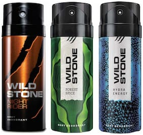 Wild Stone Forest Spice Night Rider & Hydra Energy Deodorant (Pack Of 3)
