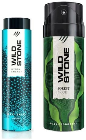 Wild Stone Forest Spice Deodorant (150 ml) and Hydra Energy Talc (50 g)- Pack of 2