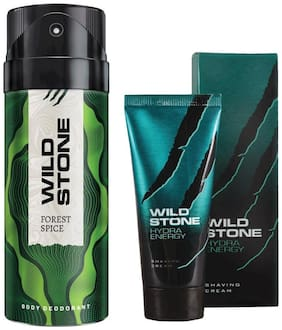 Wild Stone Forest Spice Deodorant (150 ml) and Hydra Energy Shaving Cream (30 g) For Men (Pack of 2)
