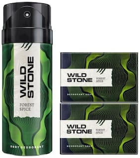 Wild Stone Forest Spice Deodorant(150ml ) and 2 Forest Spice Soap(125g ) Pack of 3