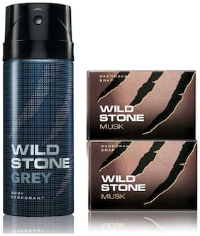 Wild Stone Grey Deodorant(150ml each) and 2 Musk Soap(75gms each) Pack of 3