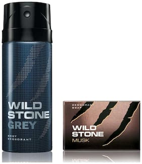 Wild Stone Grey Deodorant(150ml each) and Musk Soap(75gms each) Pack of 2