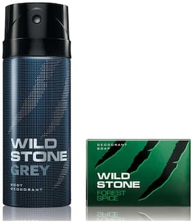 Wild Stone Grey Deodorant(150ml each) and Forest Spice Soap(75gms each) Pack of 2