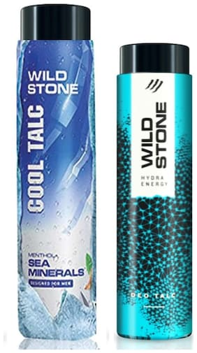 Wild Stone Hydra Energy (100g) and Sea Minerals Cool Talcum (300g) For Men;Pack of 2