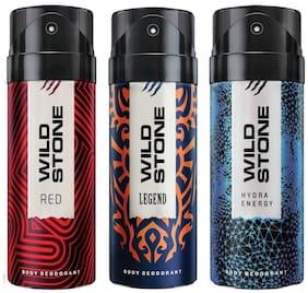 Wild Stone Hydra Energy, Legend & Red Deodorant (pack of 3)