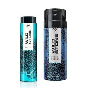 Wild Stone Hydra Energy Deodorant (150 ml) and Hydra Energy Talc (50 g) For Men Pack of 2