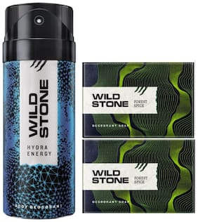 Wild Stone Hydra Energy Deodorant(150ml ) and 2 Forest Spice Soap(125g ) Pack of 3