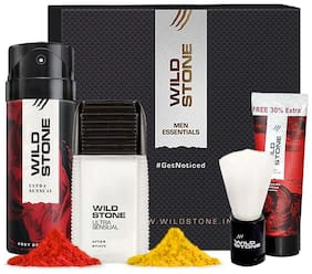 Wild Stone Holi Gift Box (After Shave Lotion 50ml  Deodorant 150ml  Shaving Brush 42g  Shaving Cream 78g)  2 Assorted Holi Colours
