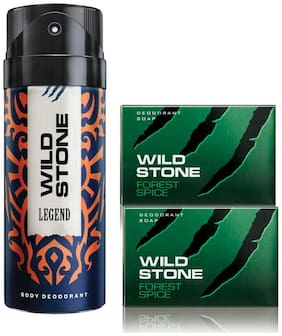 Wild Stone Legend Deodorant(150ml each) and 2 Forest Spice Soap(75gms each) Pack of 3