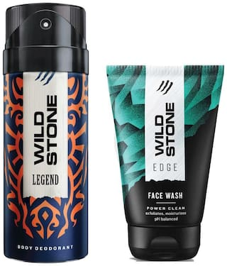 Wild Stone Legend Deodorant and Edge Face Wash For Men ( 150 ml + 50 ml) Pack of 2