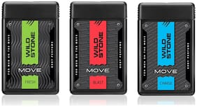 Wild Stone Move Blast, Charge and Fresh Pocket Perfumes For Men - 18 ml each (Pack of 3)