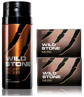 Wild Stone Night Rider Deodorant(150ml each) and 2 Musk Soap(125g each) Pack of 3