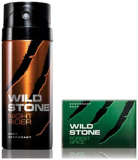 Wild Stone Night Rider Deodorant(150ml each) and Forest Spice Soap(75gms each) Pack of 2