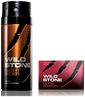 Wild Stone Night Rider Deodorant(150ml each) and Ultra Sensual Soap(75gms each) Pack of 2