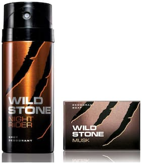 Wild Stone Night Rider Deodorant(150ml each) and Musk Soap(75gms each) Pack of 2