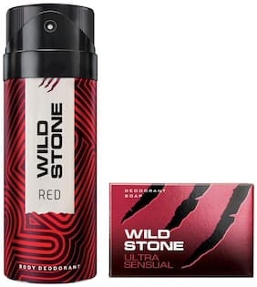 Wild Stone Red Deodorant(150ml each) and Ultra Sensual Soap(75gms each) Pack of 2