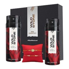 Wild Stone Rakhi Gift Hamper for Brother- Ultra Sensual Deodorant, Pack of 2 (150ml each) with 2 Rakhi