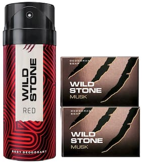 Wild Stone Red Deodorant(150ml ) and 2 Musk Soap(125g ) Pack of 3