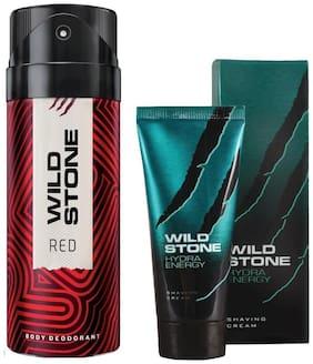 Wild Stone Red Deodorant(150 ml) and Hydra Energy Shaving Cream (30 g) For Men (Pack of 2)