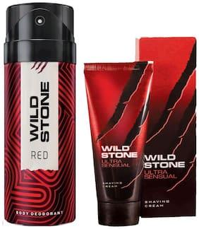 Wild Stone Red Deodorant(150 ml) and Ultra Sensual Shaving Cream (30 g) For Men (Pack of 2)