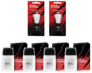 Wild Stone Shaving Combo of Ultra Sensual After Shave Lotion 50 ml X 4 and 2 pcs Shaving Brush ( Pack of 6 )