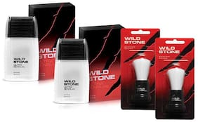 Wild Stone Shaving Combo of Ultra Sensual After Shave Lotion 50 ml X 2 and 2 pcs Shaving Brush (Pack of 4 )