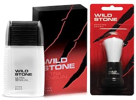 Wild Stone Shaving Combo of 100ml Ultra Sensual After Shave Lotion and 1 pc Shaving Brush (Pack of 2)