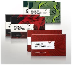 Wild Stone Soap Combo (Ultra sensual 100g, Musk 100g and Forest Spice 100g (Pack of 6)