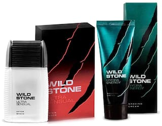 Wild Stone Shaving Combo of 100ml Ultra Sensual After Shave Lotion and 70g Hydra Energy Shaving Cream (Pack of 2)