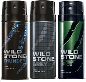 Wi;d stone Code ( Thunder + Grey + Forest spice ) Deos - 150 ml Each