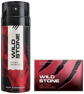 Wild Stone Ultra Sensual Deodorant(150ml each) and Soap(75g each) Pack of 2