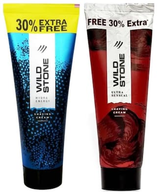 Wild Stone Ultra Sensual and Hydra Energy Shaving Cream for Men, Pack of 2 (78g each)