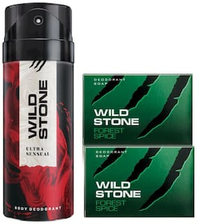 Wild Stone Ultra Sensual Deodorant(150ml each) and 2 Forest Spice Soap(75gms each) Pack of 3